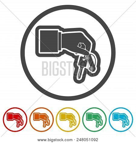 Hand Giving Car Keys, Car Sharing Icon, 6 Colors Included