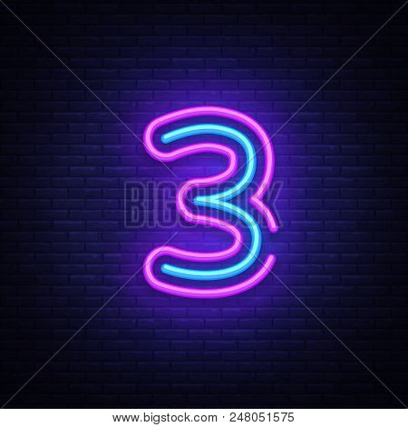 Number Three Symbol Neon Sign Vector. Third, Number Three Template Neon Icon, Light Banner, Neon Sig