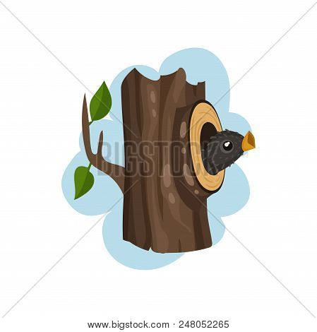 Nestling Sitting In Hollow Tree, Hollowed Out Old Tree And Cute Bird Inside Vector Illustration Isol