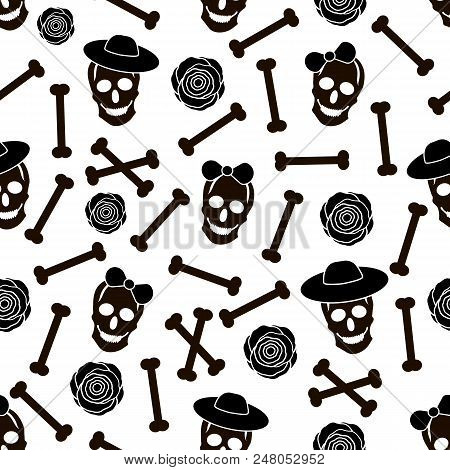 Seamless Pattern With Black Skulls, Hats, Bones And Roses On The White Background. Vector Illustrati