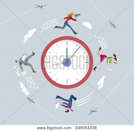 Businessmen And Businesswomen Running On Circular Clock. Running Against The Clock.  Ilustration Con