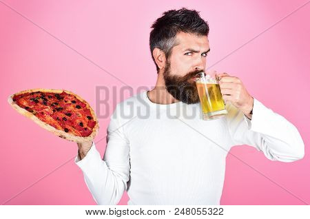 Hungry Man With Tasty Pizza. Satisfied Man With Beard And Mustache Enjoying Delicious Pizza. Fast Fo