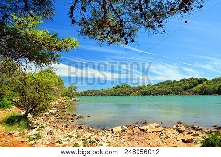 Salt Lake In Telascica Nature Park,national Park Kornati In Croatia.