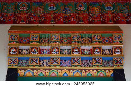 Bodhgaya, India - July 9, 2015. Details Of Bhutanese Buddhist Temple In Bodhgaya, India. Bodh Gaya I