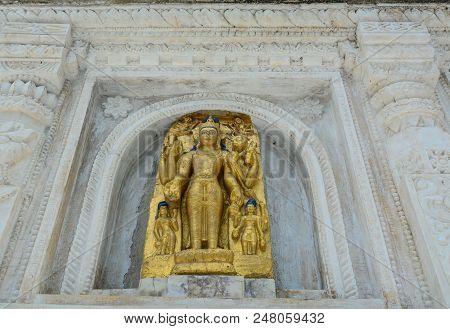 Part Of Mahabodhi Temple Complex In Bodh Gaya, India.