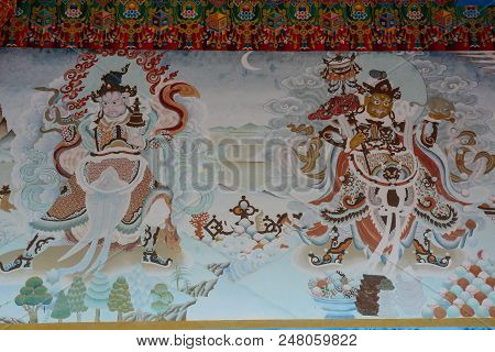Bodhgaya, India - July 9, 2015. God Painting Of Bhutanese Buddhist Temple In Bodhgaya, India. Bodh G