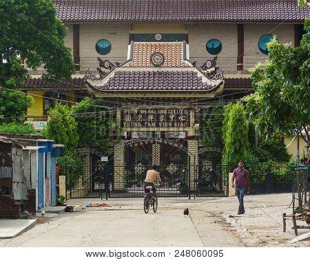 Bodhgaya, India - July 9, 2015. Buddhist Pagoda In Bodhgaya, India. Bodhgaya Is The Most Revered Of