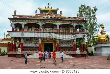 Bodhgaya, India - July 9, 2015. People Visit The Bhutanese Buddhist Temple In Bodhgaya, India. Bodh