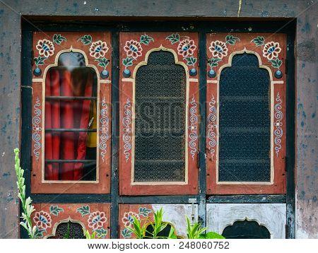 Bodhgaya, India - July 9, 2015. Windows Of Bhutanese Buddhist Temple In Bodhgaya, India. Bodh Gaya I