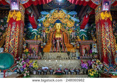 Bodhgaya, India - July 9, 2015. Interior Of Bhutanese Buddhist Temple In Bodhgaya, India. Bodh Gaya