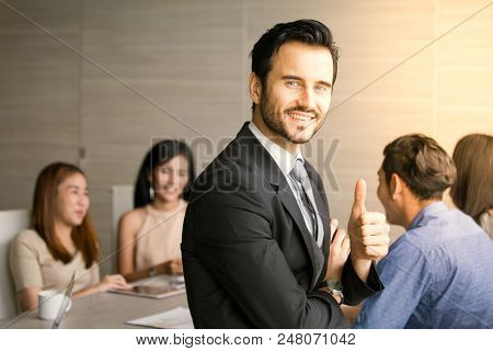 Businessman Using Smartphone For Talking With Business Plan At Team Meeting, Businrss With Meeting C