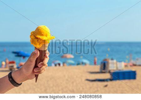 Mango,ice Cream,one Ice Cream Ball,yellow,waffle Cone,in Hand,hand,watch,bracelet,fitness Bracelet,p