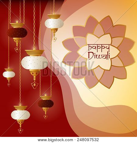 Happy Divali Greeting Background. Indian Holiday Vector Illustration
