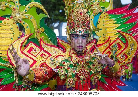 Singapore - Feb 24 : Participant In The Chingay Parade In Singapore On February 24 2018. The Chingay