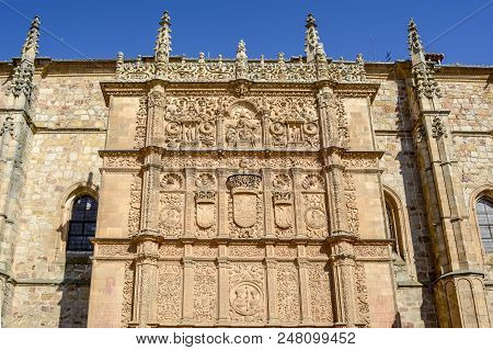 Plateresque Facade Of The University Building Of Salamanca, Castile And Leon, Spain.