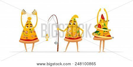 Funny Cartoon Pizza Characters. Seafood Pizza. Diet Pizza. Carbonara Pizza.vector  Isolated On White