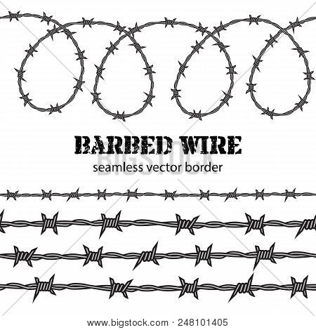 Barbed Wire Seamless Border. Desighn For Political Poster. Protest Against Violence And Injustice, S