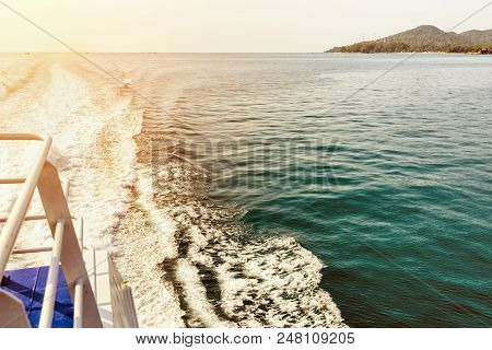 Vintage Style Beautiful Natural Landscape Of Sky And Blue Sea While Travel By Speed Boat In Summer T