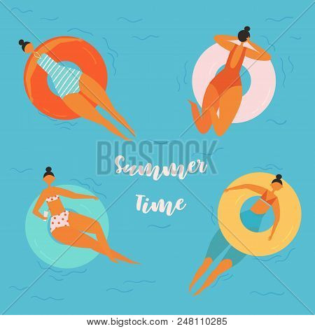 Summer Time Lettering. Pretty Women Swims, Tanning On Life Buoy In Swimming Pool. Girl Floating On S