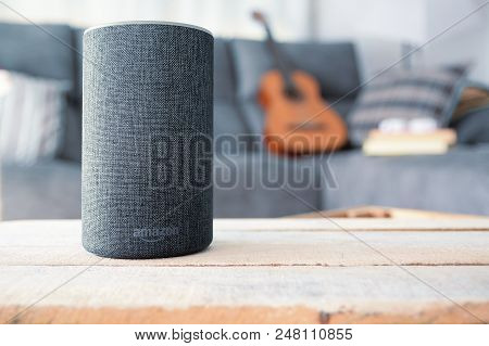 Barcelona - July 2018: Amazon Echo Smart Home Alexa Voice Service In A Living Room On July 20, 2018