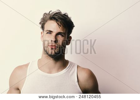 Masculinity, Temptation And Confidence Concept. Man With Fair Hair On White Background, Copy Space.
