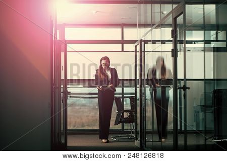 Business Project. Businesswoman Or Ceo Fashion. Woman In Formal Outfit In Glass Office. Manager Girl