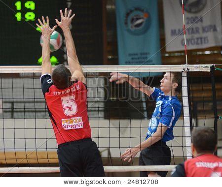 KAPOSVAR, HUNGARY - OCTOBER 29: Bence Bozoki (R) in action at a Hungarian National Championship volleyball game Kaposvar (blue) vs. Szolnok (red), October 29, 2011 in Kaposvar, Hungary.