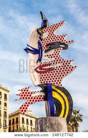 Barcelona - March, 2018: The Head Of Barcelona Or El Cap De Barcelona A Surrealist Sculpture Created
