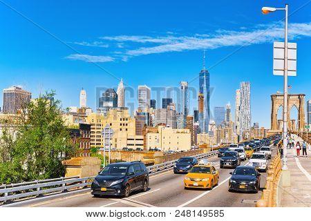 View On Manhattan From Brooklyn Bridge- Between The Lower Manhattan And Brooklyn. New York, Usa.