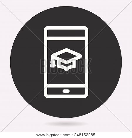 Vector E-learning Education Icon. Academic Study, Learn Symbol. Illustration Isolated. Simple Pictog