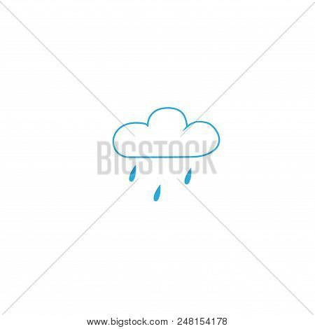 Light Rain. Weather Icon. Meteorology Symbol Minor Precipitation. Isolated Icon Small Fallout Weathe