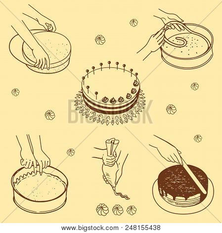 Stages Of Preparation Of A Cake On A Beige Background