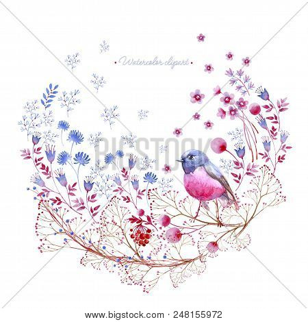 Watercolor Rounded Clipart Of Crimson And Blue Nature Elements. Clipart Consist Of Berries, Flowers,