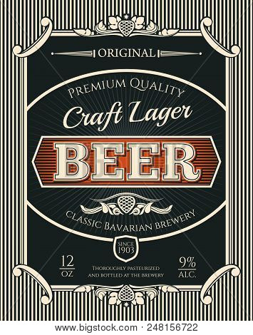 Beer Alcohol Drink Bottle Label Of Bavarian Brewery Craft Lager. Beer, Lager Or Ale Retro Banner Wit