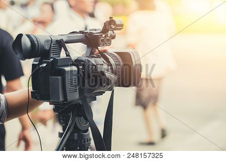 Video Media Camera Man Record Working Broadcast In Live Streaming Online