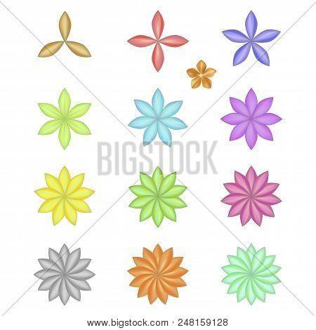 Pattern Flower Five Petal Set Isolated On Background (vector Illustration)