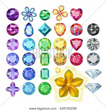 Set Of Colored Gems, Golden Metal Pattern Flower Isolated On White Background, Vector Illustration