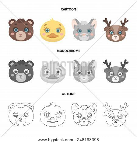 Bear, Duck, Mouse, Deer. Animal Muzzle Set Collection Icons In Cartoon, Outline, Monochrome Style Ve