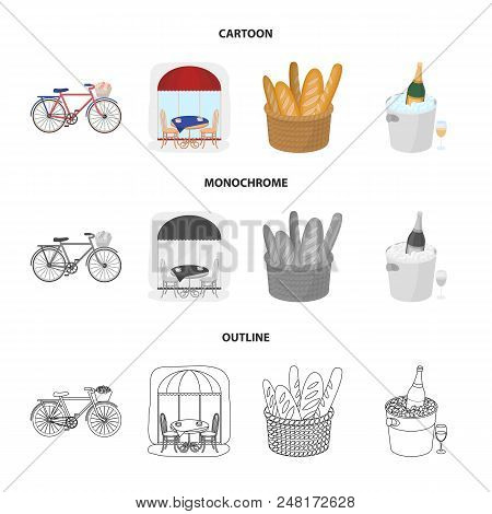 Bicycle, Transport, Vehicle, Cafe .france Country Set Collection Icons In Cartoon, Outline, Monochro