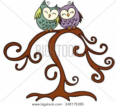 Scalable Vectorial Representing A Couple Of Owl In Tree, Element For Design, Illustration Isolated O