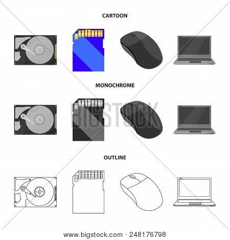 Computer Mouse, Laptop And Other Equipment. Personal Computervset Collection Icons In Cartoon, Outli