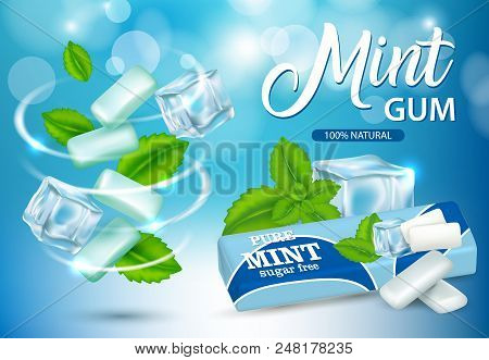 Vector Realistic Swirl Of Mint Chewing Gum Pads And Green Mint Leaves, Bubblegum Paper Package Desig