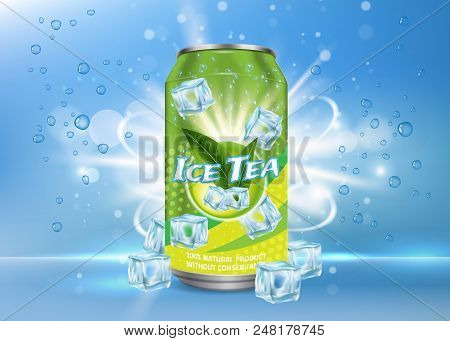 Vector Realistic Illustration Of Aluminium Can With Ice Tea Label And Ice Cubes, Bubbles Around It.