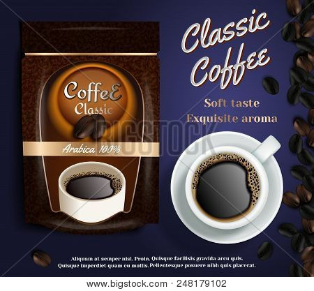Instant Coffee Ads. Vector Realistic Illustration Of Instant Coffee Packaging Bag Flexible Standing
