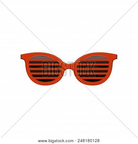Stylish Jalousie Sunglasses With Red Frame And Black Lenses. Protective Eyewear. Fashion Accessory.