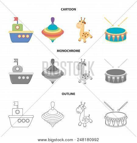 Ship, Yule, Giraffe, Drum.toys Set Collection Icons In Cartoon, Outline, Monochrome Style Vector Sym