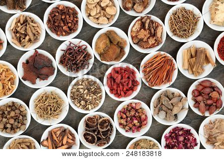 Traditional chinese herbs used in alternative herbal medicine in white porcelain bowls on marble background.