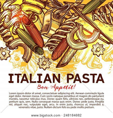 Italian Pasta Menu Cover With Traditional Food Of Italy. Spaghetti, Macaroni And Penne Pasta Shape,