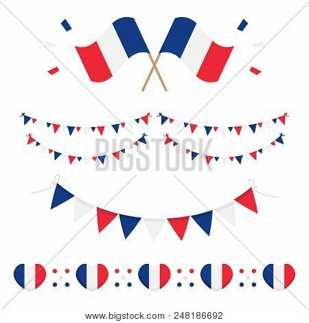Set, Collection Of French Flags And Design Elements For French National Day And Other Public Holiday