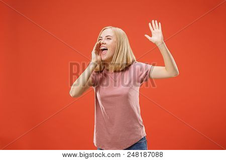 Screaming. Crying Emotional Angry Woman Screaming On Red Studio Background. Emotional, Young Face. F